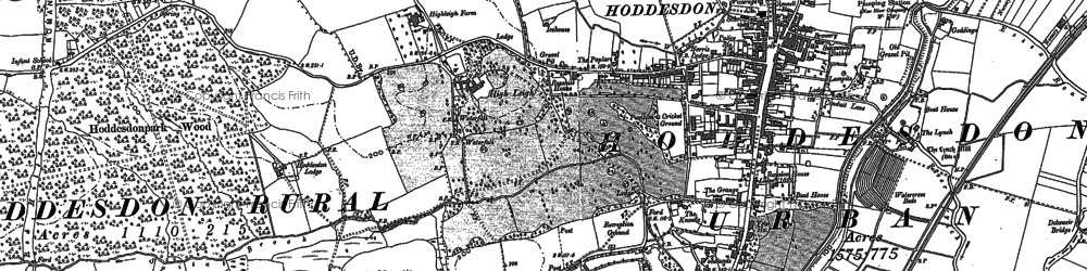 Old map of Hoddesdon in 1895