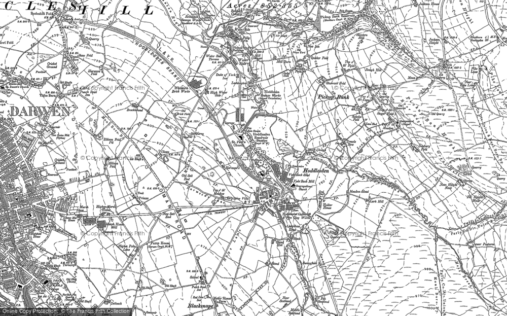Old Map of Historic Map covering Aushaw in 1891