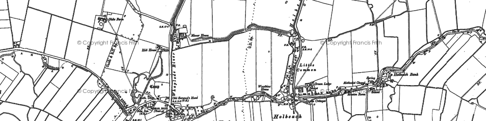 Old map of Whaplode River in 1887