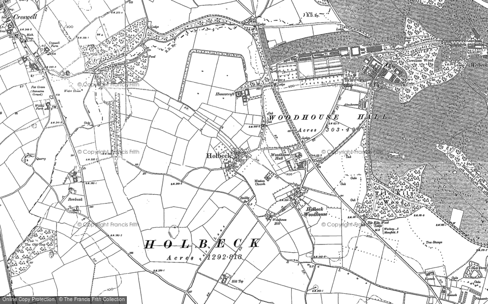 Old Map of Historic Map covering Woodhouse Hall in 1884