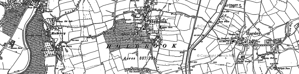 Old map of Holbrook in 1880