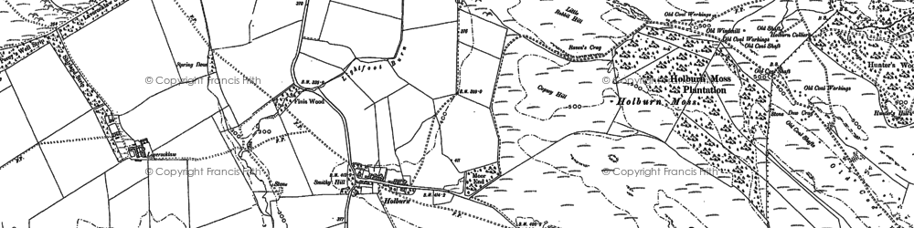 Old map of Laverock Law in 1897