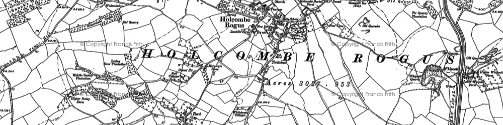 Old map of Holcombe Rogus in 1903