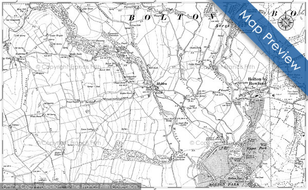 Old Map of Historic Map covering Lane Ends in 1893