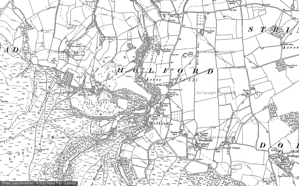 Old Map of Historic Map covering Woodlands Hill in 1886