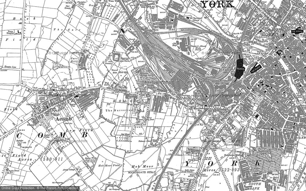 Old Map of Historic Map covering Acomb in 1890