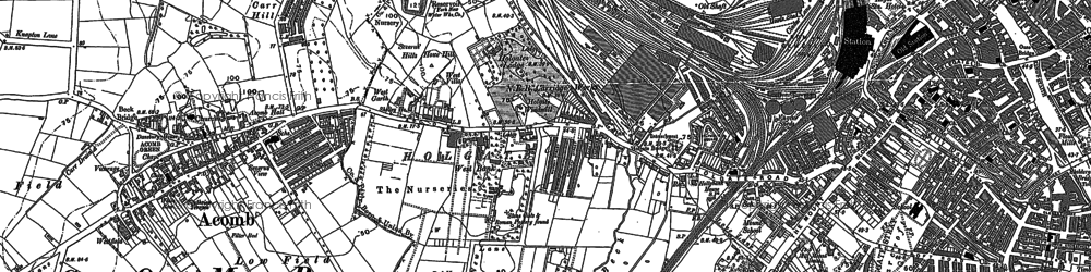 Old map of Acomb in 1890