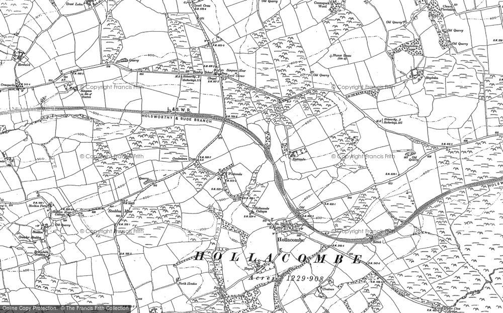 Old Map of Historic Map covering Tinacre in 1883