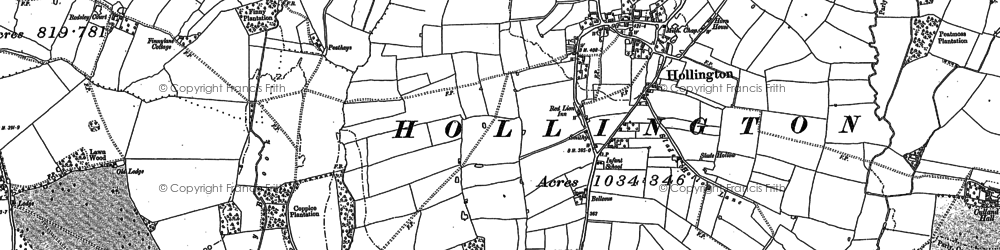 Old map of Wormsley in 1880
