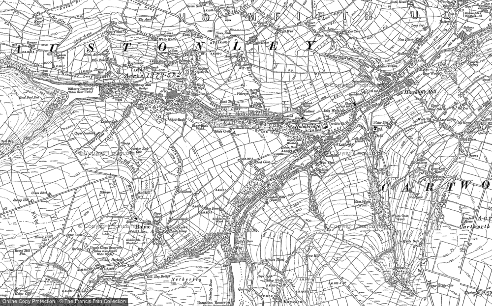 Old Map of Historic Map covering Wood Cottage in 1888
