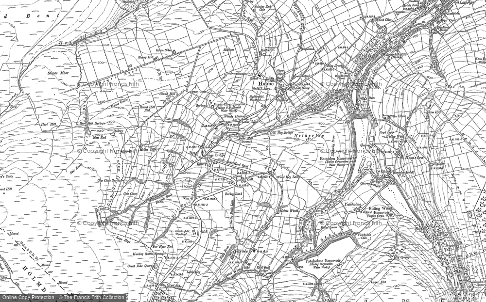 Old Map of Historic Map covering Tooleyshaw Moss in 1888