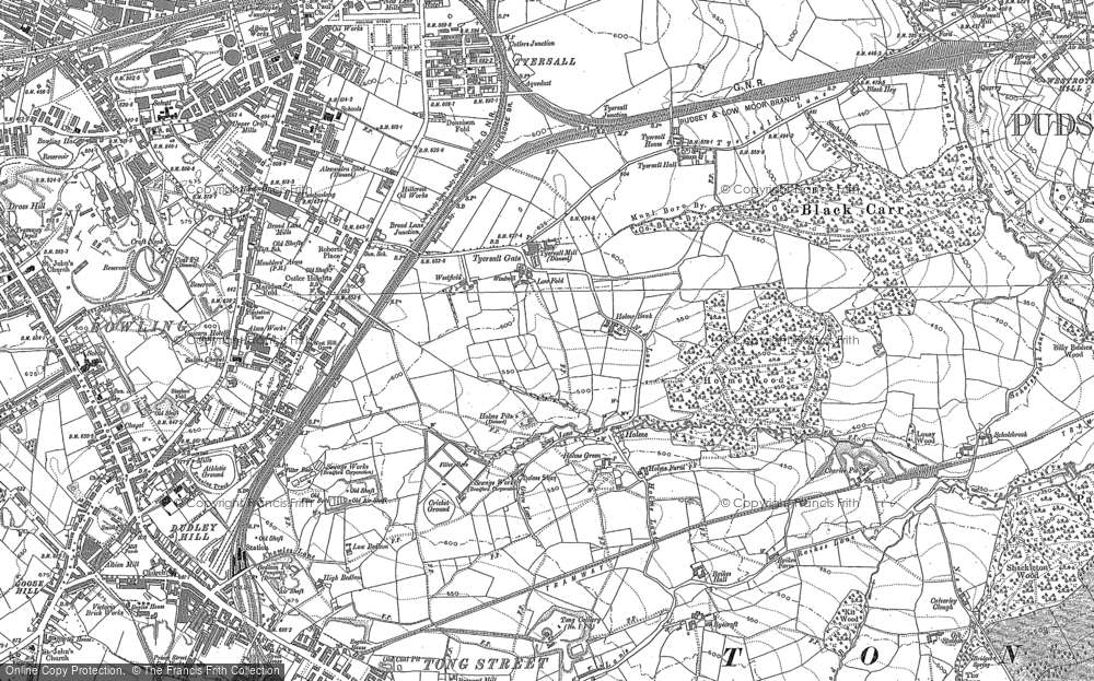 Old Map of Historic Map covering Tong Street in 1890