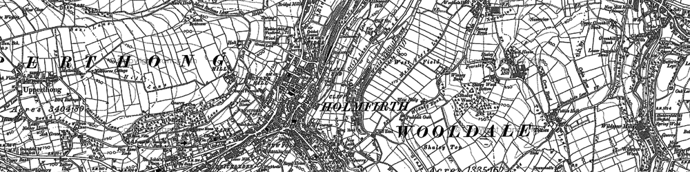 Old map of Holmfirth in 1888
