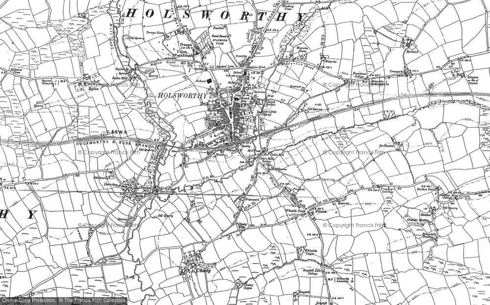 Old Map of Historic Map covering Arscott in 1883