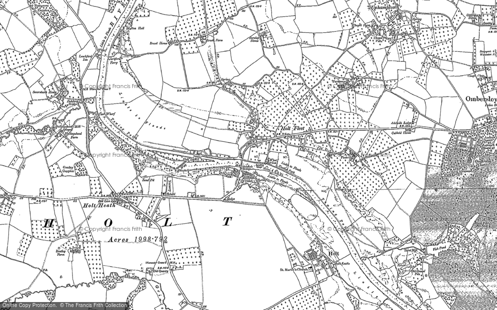 Old Map of Holt Fleet, 1883 - 1884 in 1883