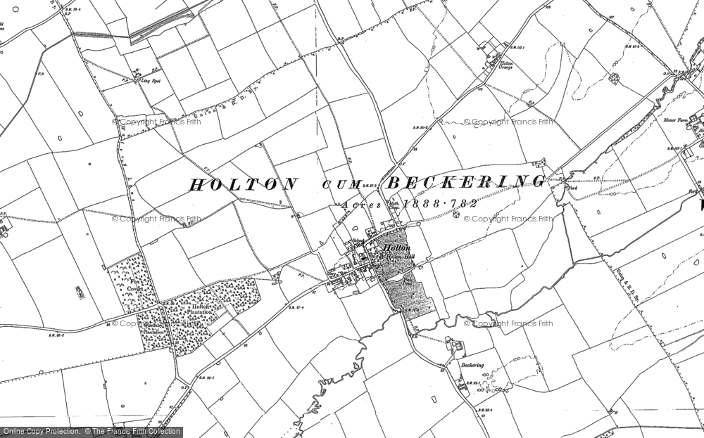 Old Map of Historic Map covering Wickenby Aerodrome in 1886