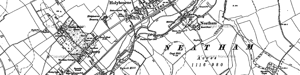 Old map of Holybourne in 1894