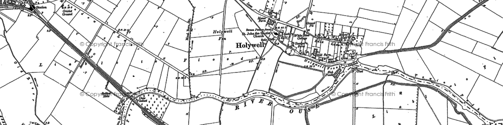 Old map of Holywell in 1900