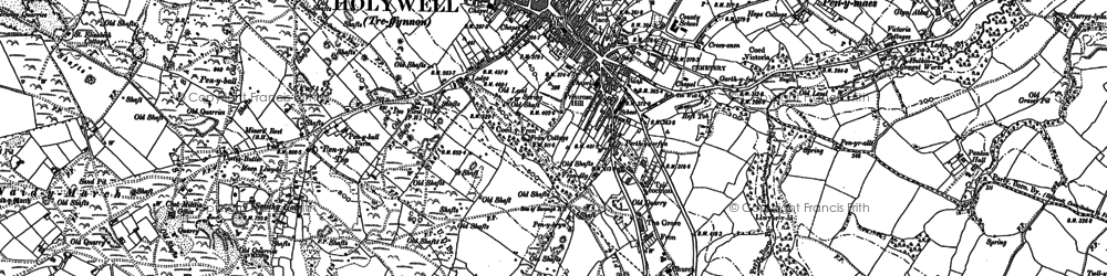 Old map of Holywell in 1910