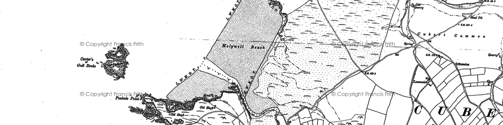 Old map of Holywell Bay in 1906