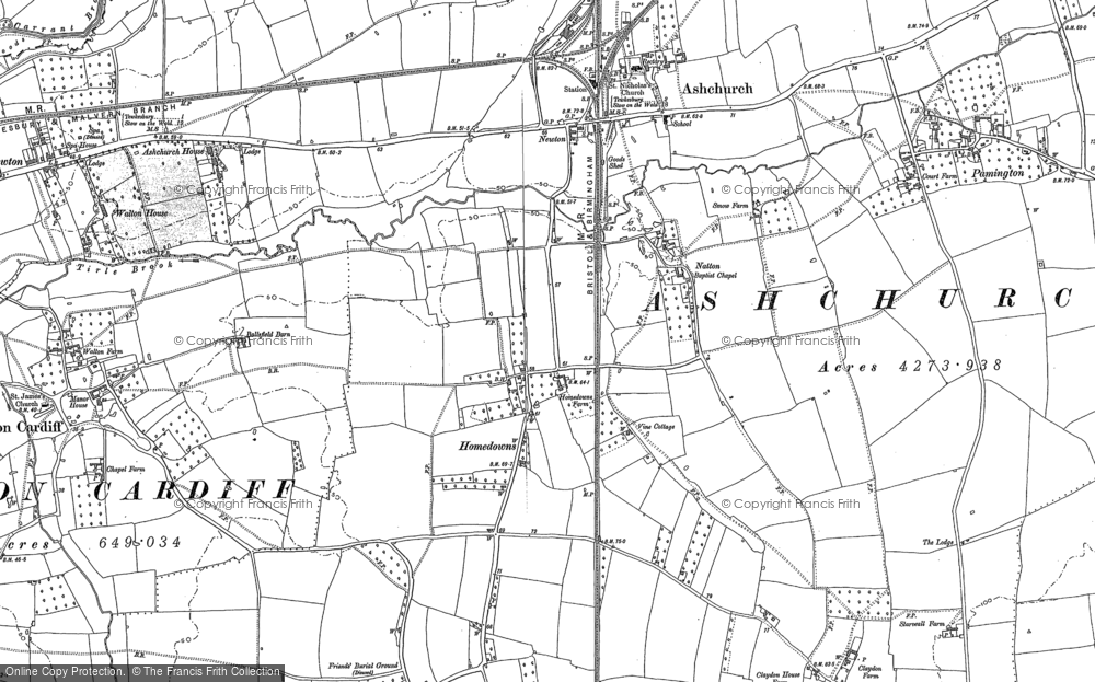 Old Map of Historic Map covering Tirle Brook in 1883