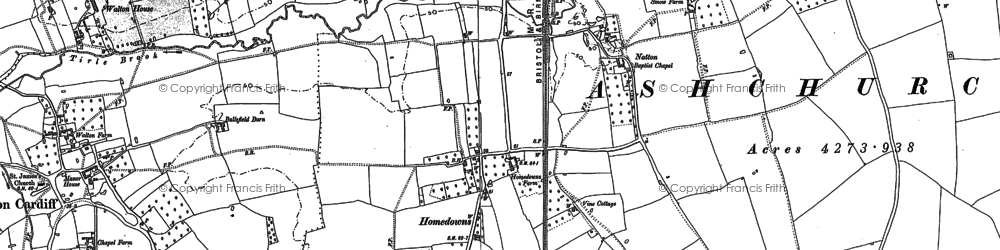 Old map of Tirle Brook in 1883