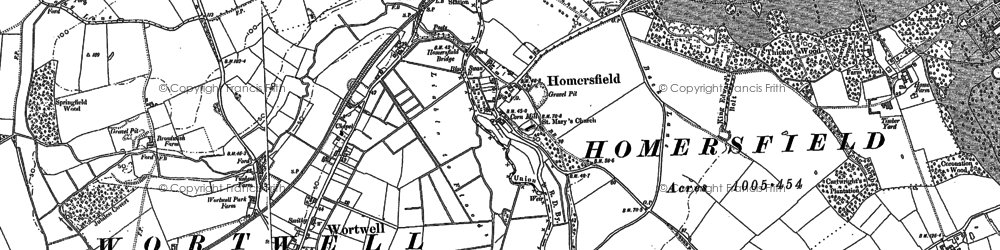 Old map of Homersfield in 1903