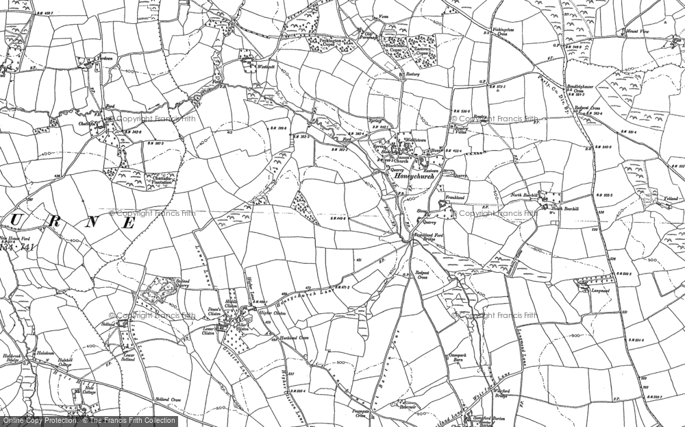 Old Map of Historic Map covering Langmead in 1886