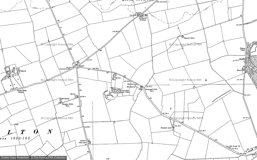 Old Map of Historic Map covering Toms Copse in 1876