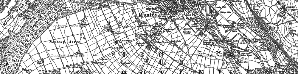 Old map of Honley in 1888