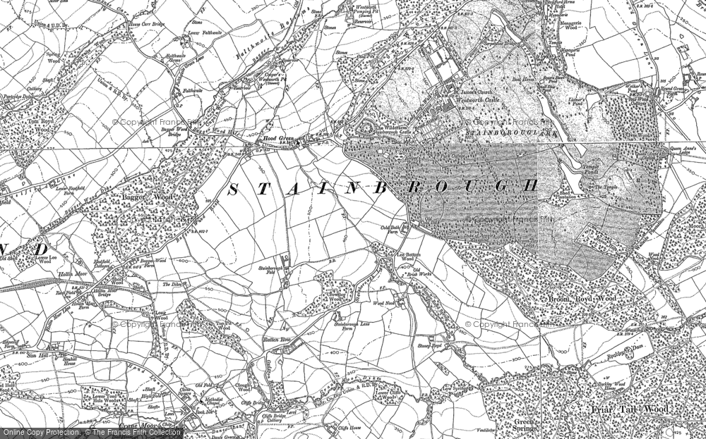 Old Map of Historic Map covering Bagger Wood in 1890