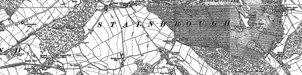 Old map of Hood Green in 1890