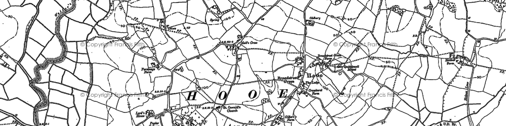 Old map of Whydown in 1897