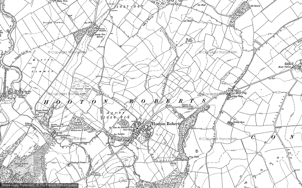 Old Map of Historic Map covering Thybergh Country Park in 1890