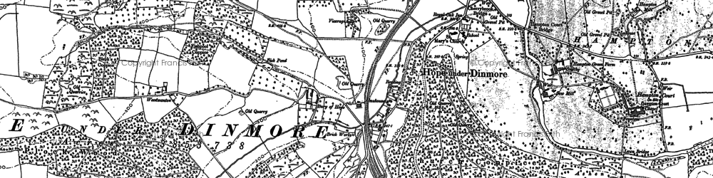 Old map of Hope under Dinmore in 1885