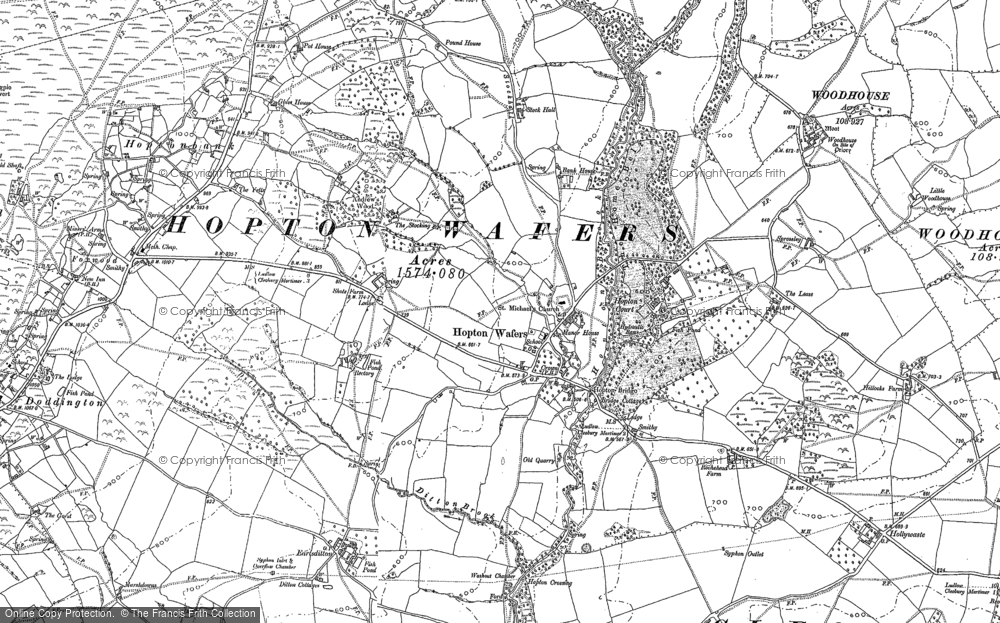 Old Map of Historic Map covering Woodhouse in 1879
