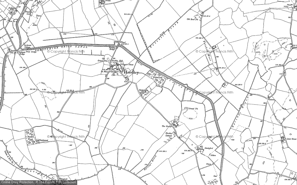Old Map of Hordley, 1874 - 1880 in 1874