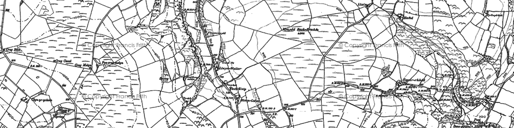 Old map of Ynys-Brechfa in 1887