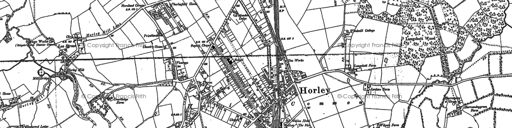 Old map of Horley in 1895