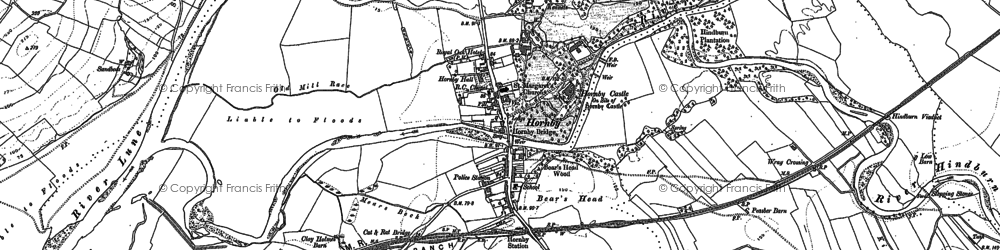 Old map of Hornby in 1910