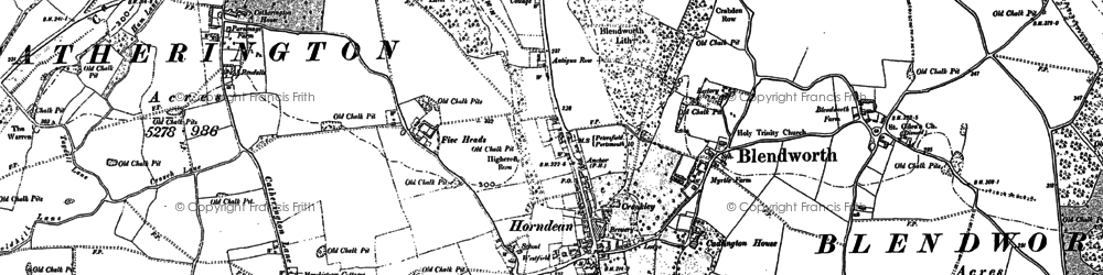 Old map of Horndean in 1907