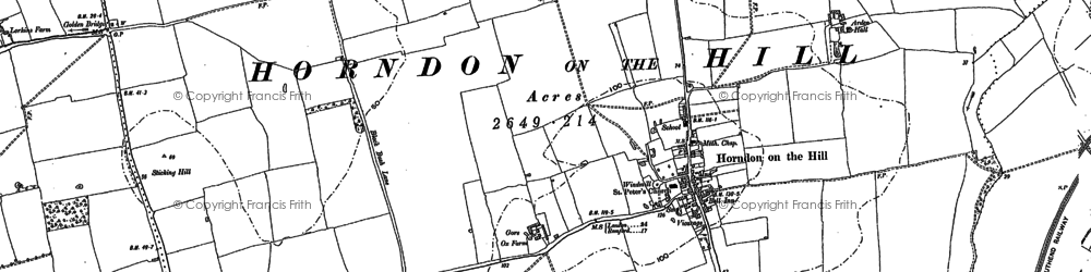 Old map of Horndon on the Hill in 1895