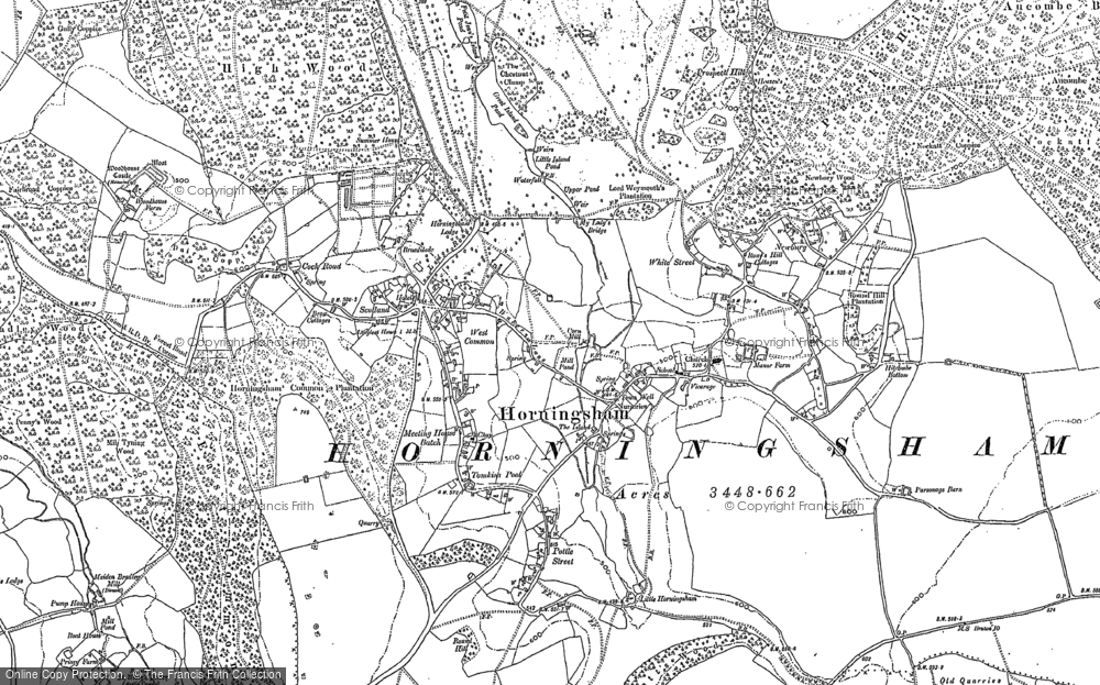 Old Map of Historic Map covering Woodhouse Castle (rems of) in 1900