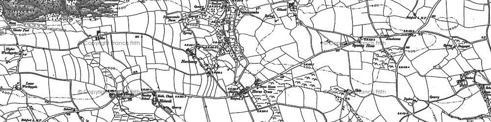 Old map of Horns Cross in 1884