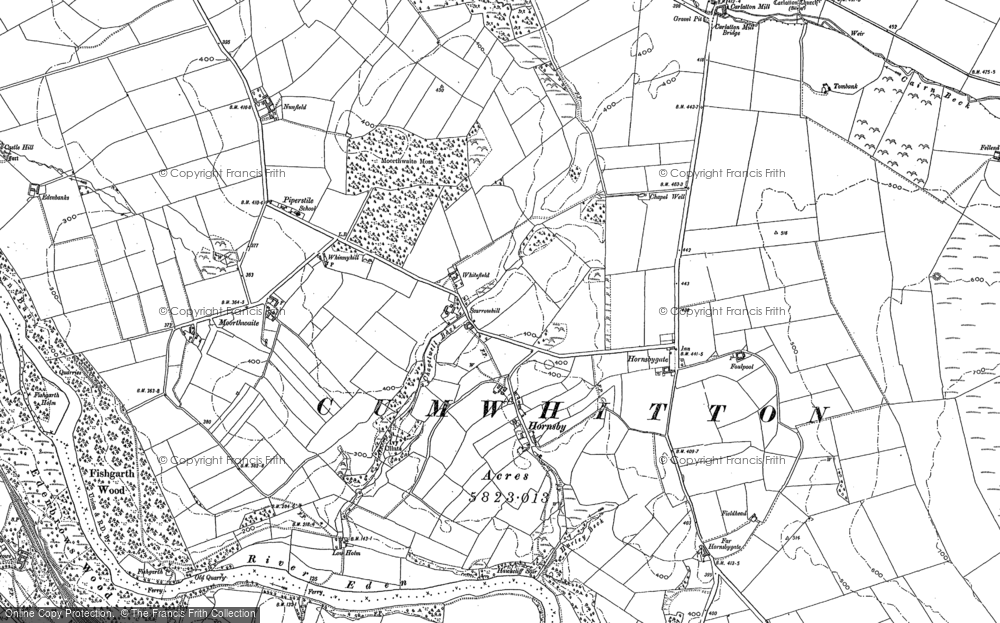 Old Map of Historic Map covering Thwaites in 1898