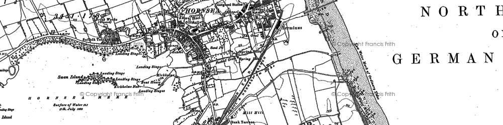 Old map of Hornsea in 1909