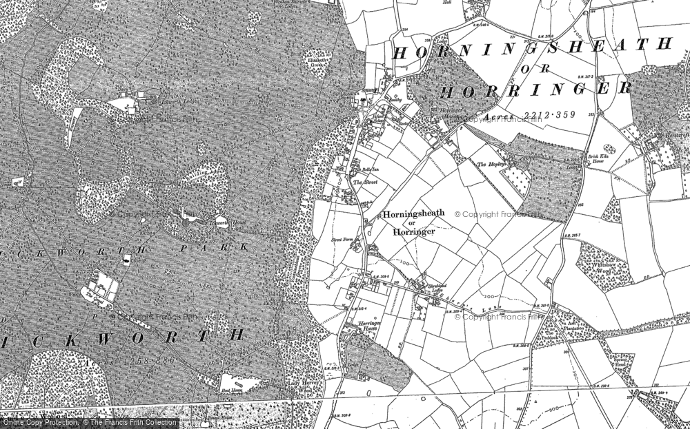 Old Map of Historic Map covering Adkin's Wood in 1883