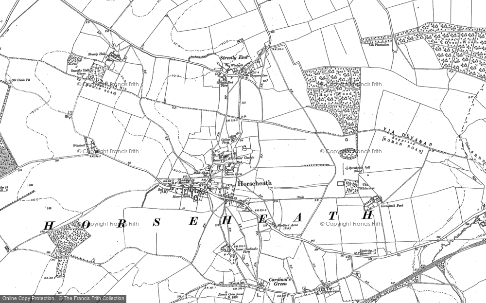 Old Map of Horseheath, 1885 - 1901 in 1885