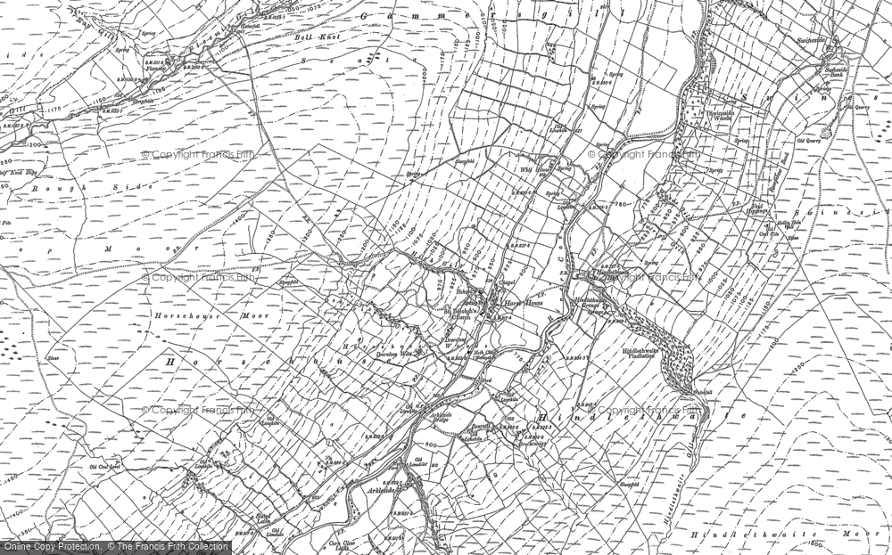 Old Map of Historic Map covering Woodale in 1907