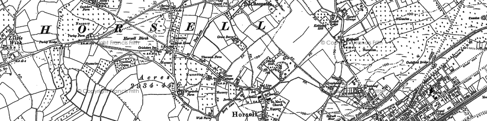 Old map of Horsell in 1895